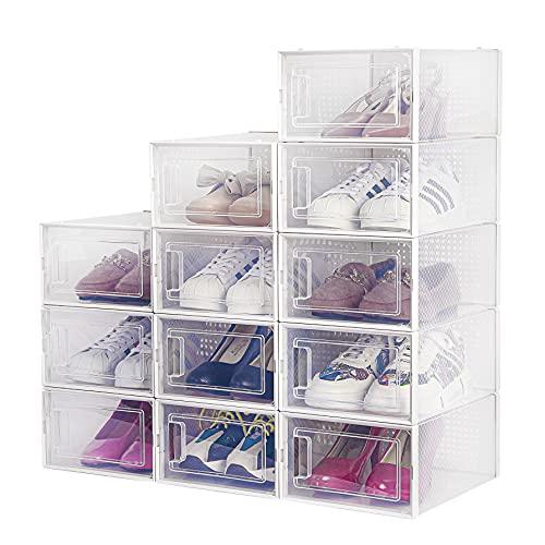 Paquete de 12 Cajas de Zapatos, Caja de Almacenamiento de Plástico Transparente, 33×23×14cm por Casillero, Transpirable y a Prueba de Polvo, Multifuncional para Zapatos, Ropa, Accesorios