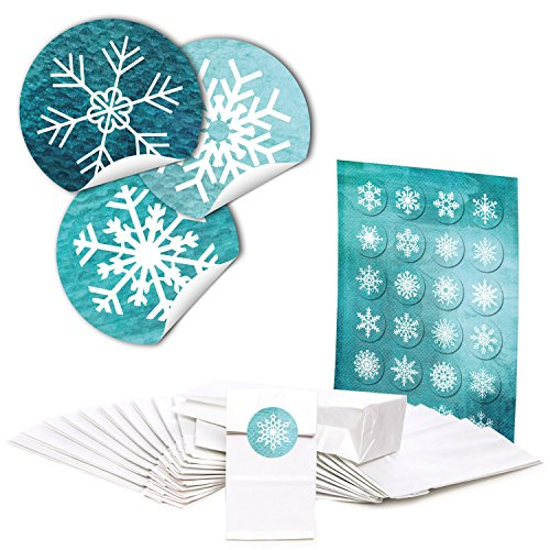 48 witte blokbodemzakken met pergamijn inzetstuk (7 x 4 x 20,5 cm) en 48 kerststickers