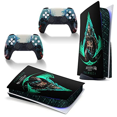 Assassins Creed Valhalla PS5 Skin Stickers Full Body Vinyl Skins Wrap Decal Cover para Playstation 5 Console y 2 controladores Disc Edition