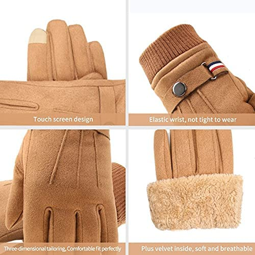 YANYAN Men's Winter Gloves Suede Warm Split Finger Gloves Outdoor Sport Driving Buckle Design Male Touch Screen Mittens (Color : E, Gloves Size : One Size)
