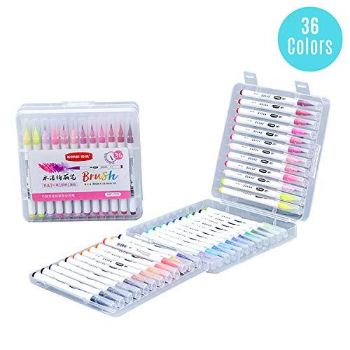 Aibecy aquarel echte penseel pennen met flexibele nylon tips 12 levendige kleuren verf markers water oplosbaar voor het schilderen tekenen kleuren kalligrafie hand schrijven kunst benodigdheden voor school studenten 36 Colors