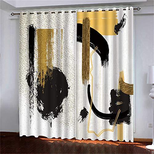 YUNSW Kreativer 3D-Digitaldruckvorhang Polyester Perforiert 98% Hoch Schattiert Wohnzimmer Schlafzimmer Vorhänge 2-Teiliges Set