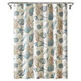 YOSTEV Starfish and Seashells Ivory Bathroom Fabric Shower Curtain with Hooks,Unique 3D Printing,Decorative Bathroom Accessories,Water Proof,Reinforced Metal Grommets 54x78 Inches