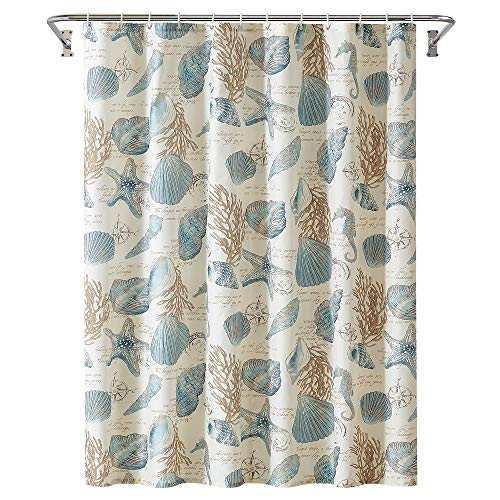 Starfish and Seashells Ivory Bathroom Fabric Shower Curtain with Hooks,Unique 3D Printing,Decorative Bathroom Accessories,Water Proof,Reinforced Metal Grommets 72x72 Inches