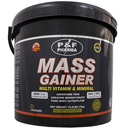 MASS GAINER   P&F PHARMA - 7 Kg - Incrementa la masa muscular, alto contenido en vitaminas y minerales (Chocolate)