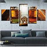 Con Marco - Cuadro Sobre Impresión Lienzo 5 Piezas Cartel De Copa Y Botella De Vino De Bar Impresión En Lienzo Modular Decoracion De Pared Póster Adecuado Para Decoración De Dormitorios-150 x 80 cm
