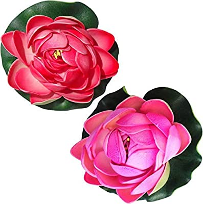 Deluxe Decor Artificial Floating Lotus Flower Natural Looking for Pool and Home Decoration (Red)