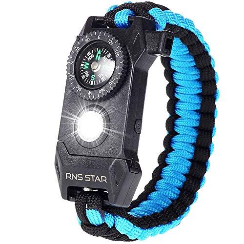 Paracord Survival Bracelet 6-IN-1 - Hiking Gear Traveling Camping Gear Kit - 70% BIGGER Compass LED SOS Emergency Function Flashlight,Fire Scrapper,Flint Fire Starter,Survival Knife (Black_Blue)