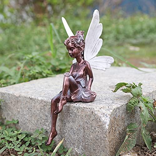 Elfen Figur Garten Deko Feen Gartendeko 22 cm Figuren für Außen Groß Blumenfee Engel Skulptur Garten Landschaftsbau Tudor Turek Sitzende Statue (Braun)