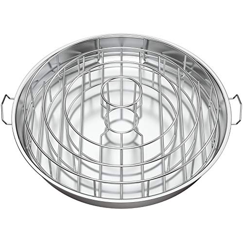only fire Stainless Steel Circular Rib Rack and Chicken Roaster, BBQ Rib Rings for Smoker or Charcoal Grill
