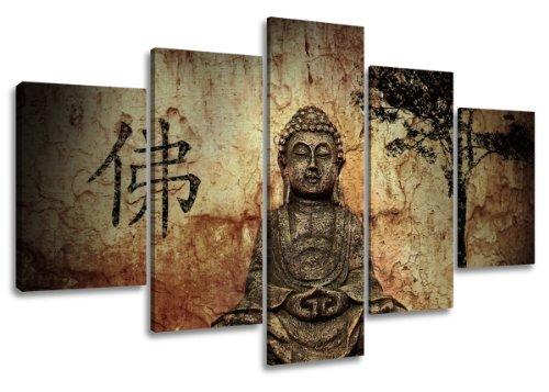 Visario Leinwandbilder 5502 Bild auf Leinwand Buddha, 160 cm, 5 Teile