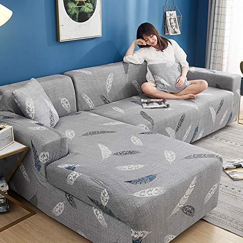 SETSCZY Funda de sofá elástica, Conjunto de 2 Fundas Funda De Sofa Elastica,Fundas para Sofa Chaise Longue para Sala De Estar Sofá Protecto,C,235~300cm + 235~300cm