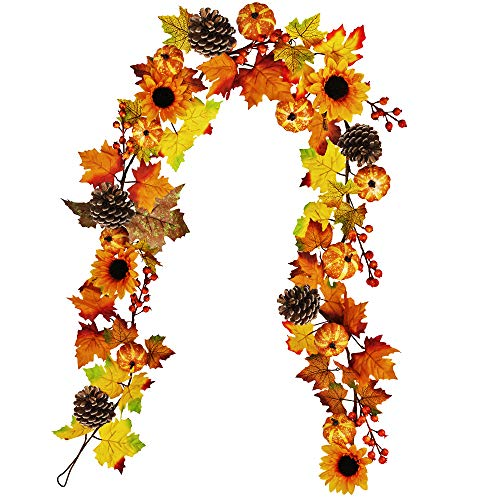 Winlyn Fake Fall Maple Leaf Garland Hanging Vine- 6 Feet - Artificial Berries Sunflower Pumpkin Autumn Decoration for Wedding Party Thanksgiving Dinner Fireplace Door Frame Doorway Backdrop Decor