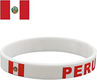 TDoperator PERU Flag Silicone Bracelet FIFA World Cup 2018 For Soccer Fan Unisex Design Soft and Durable Wristband for National Football Supporters Fans Fashion Sport Wrist Strap Souvenir Gift