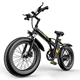 Lixada Bicicleta de Montaña Eléctrica 1000W, 20 x 4 Pulgadas, 12,8 AhNeumáticos Gruesos, Bicicleta de Nieve, Ciclomotor Eléctrico Auxiliar, Batería Extraíble con Horquilla de Suspensión