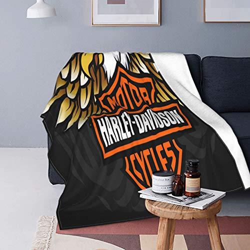 Harley Davidson - Manta de forro polar (125 x 150 cm, franela suave y cálida, para cama/sofá/oficina/camping