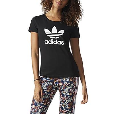 adidas Originals Women's Trefoil Tee Tops, Black/White, X-Large