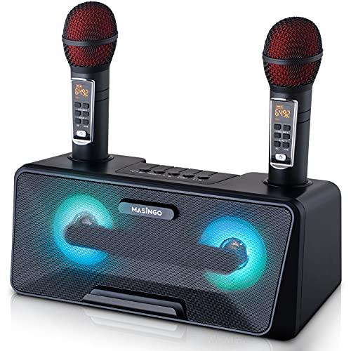 Portable Karaoke Machine for Kids & Adults - Best Birthday Gift w/Bluetooth Speakers, 2 Wireless Microphones, LED Lights, Tablet Holder, PA System & Karaoke Song Mode! (Black)
