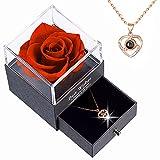 Rose Eternelle, Préservé Rose Collier avec 100 Langues Je t'aime Texte à L'intérieur, Boîte Cadeau, Cadeau pour Fête des Mères La Saint-Valentin Anniversaire Mariage