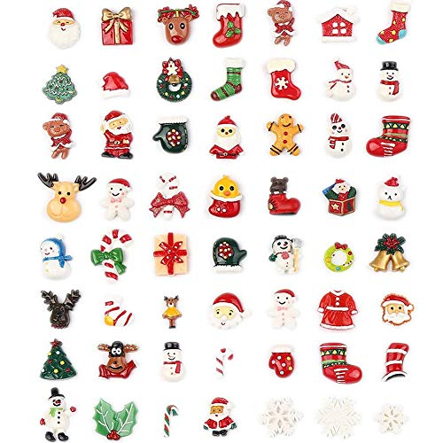 100pcs Christmas Slices Resin Slime Charms Assorted Button Santa Snowman Tree Bell Deer for Craft Making, Ornament Scrapbooking DIY Crafts
