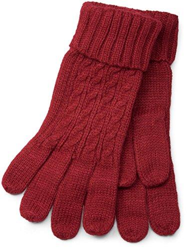 styleBREAKER Damen Handschuhe mit Zopfmuster und doppeltem Bund, warme Strickhandschuhe, Fingerhandschuhe 09010009, Farbe:Bordeaux-Rot