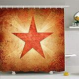 Conjunto de cortina de baño con ganchos Cubierta de estrella Página de Rusia Historia rusa Muro socialismo en texturas vintage Soldado de lona socialista Tela de poliéster impermeable Decoración de ba