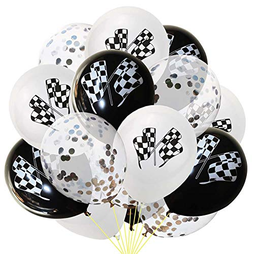 VVV 45 Stück Party Luftballons Racing Party Supplies Karierte Flagge Black White Ballons Mit Konfetti für Baby Shower Junge Kinder Geburtstag Party Deko,E