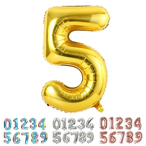 Ponmoo 100cm Zahlen Luftballon 5 Golden, Riesige Folienballon 0 1 2 3 4 5 6 7 8 9 Zahl Geburtstagsdeko, Deko Geburtstag Folienluftballons Birthday Helium Zahlenballon Luftballon 5. Geburtstag