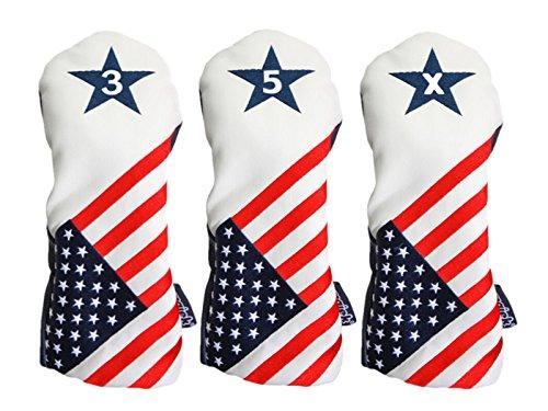 Majek USA Vintage Golf Driver Headcover Schlägerhaube, USA 3, 5, X, Patriot Golf 2016, Vintage, Retro, patriotisch, Fairway-Holz, passend für alle modernen Fairway-Holzschläger