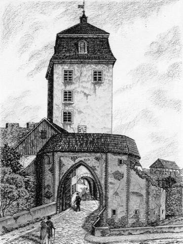 Kunstverlag Christoph Falk Einfarbige Radierung Großenhain, Meissner Tor um 1834 als Loses Blatt