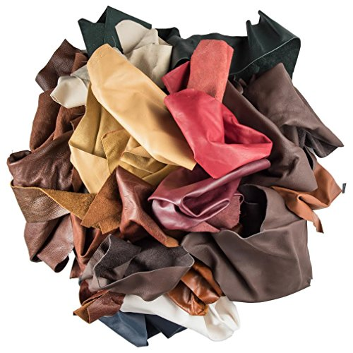 """Leather Scraps Upholstery Leather 2 LB & 1""""Genuine Snakeskin"""" Piece"""