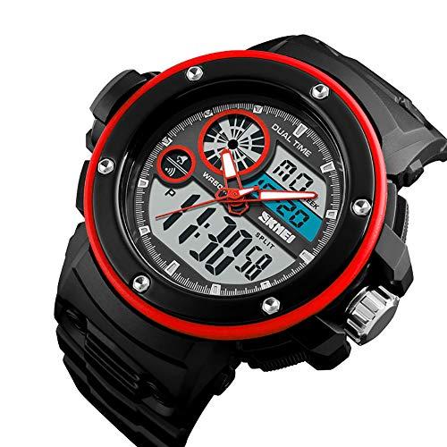YK WATCH Orologio Multifunzionale di Tendenza Orologio Sportivo da Uomo Sportivo Impermeabile Esterno,Red