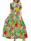 YESNO Women Casual Loose Bohemian Floral Dress with Pockets Short Sleeve Long Maxi Summer Beach Swing Dress (XL EJF CR10)
