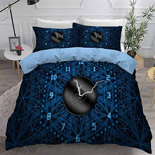 3D Bedding Set Clock Print Duvet Cover Set Bedcloth with Pillowcase Bed Set Home Textiles,US FULL