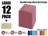 スーパーダッシュ 新しい 12ピース 500 x 500 x 50 mm フラットベベルタイルアコースティックフォーム 吸音材 防音 吸音材質ポリウレタン SD1039 (紫の)