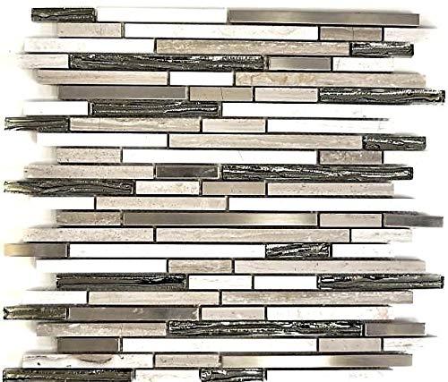 Mosaik Fliese Edelstahl Stäbchen weiß Holz Verbund Glasmosaik Crystal Stein für WAND BAD DUSCHE KÜCHE FLIESENSPIEGEL THEKENVERKLEIDUNG BADEWANNENVERKLEIDUNG Mosaikmatte Mosaikplatte | 10 Mosaikmatten