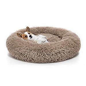 Boehner Cama Redonda para Mascotas, Suave, Lavable, autocalentante, calmante, Cama para Perro, Cama Redonda para Perro, cómoda para Dormir en Invierno, café, 40''x40''