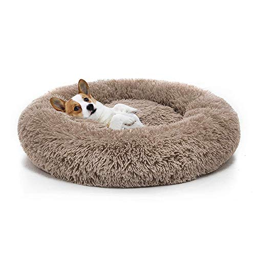 Boehner Cama Redonda para Mascotas, Felpa, Suave, Lavable, autocalentable, calmante, Cama para Perros Donut Cuddler Cama Redonda para Perros Cómoda para Dormir en Invierno (café, 70 cm)