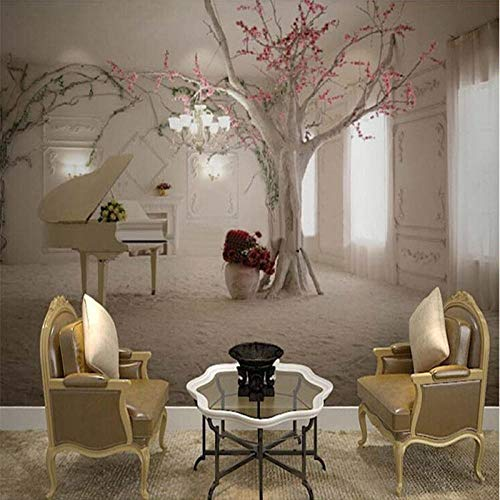 Fotobehang modern Trunk Piano Art Wallpaper woonkamer restaurant vlies planten wandschilderij 3D wallpaper 500cm (W) x 320cm (H)