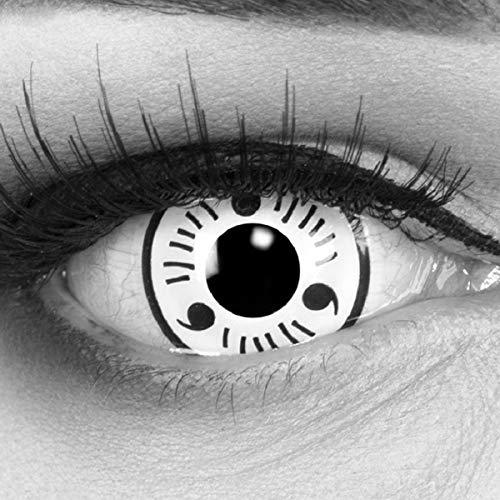 Meralens 1 Paar Farbige Anime Manga Kontaktlinsen Ohne Stärke mit gratis Kontaktlinsenbehälter - Sharingan White Naruto in weiß schwarz perfekt zu Hereos of Cosplay, Halloween 12 Monatslinsen 14mm