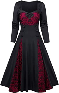 Halloween Vintage Cocktail Party Swing Lace Dress for Women Skull Printed Gothic Bowknot Rockabilly Dreses