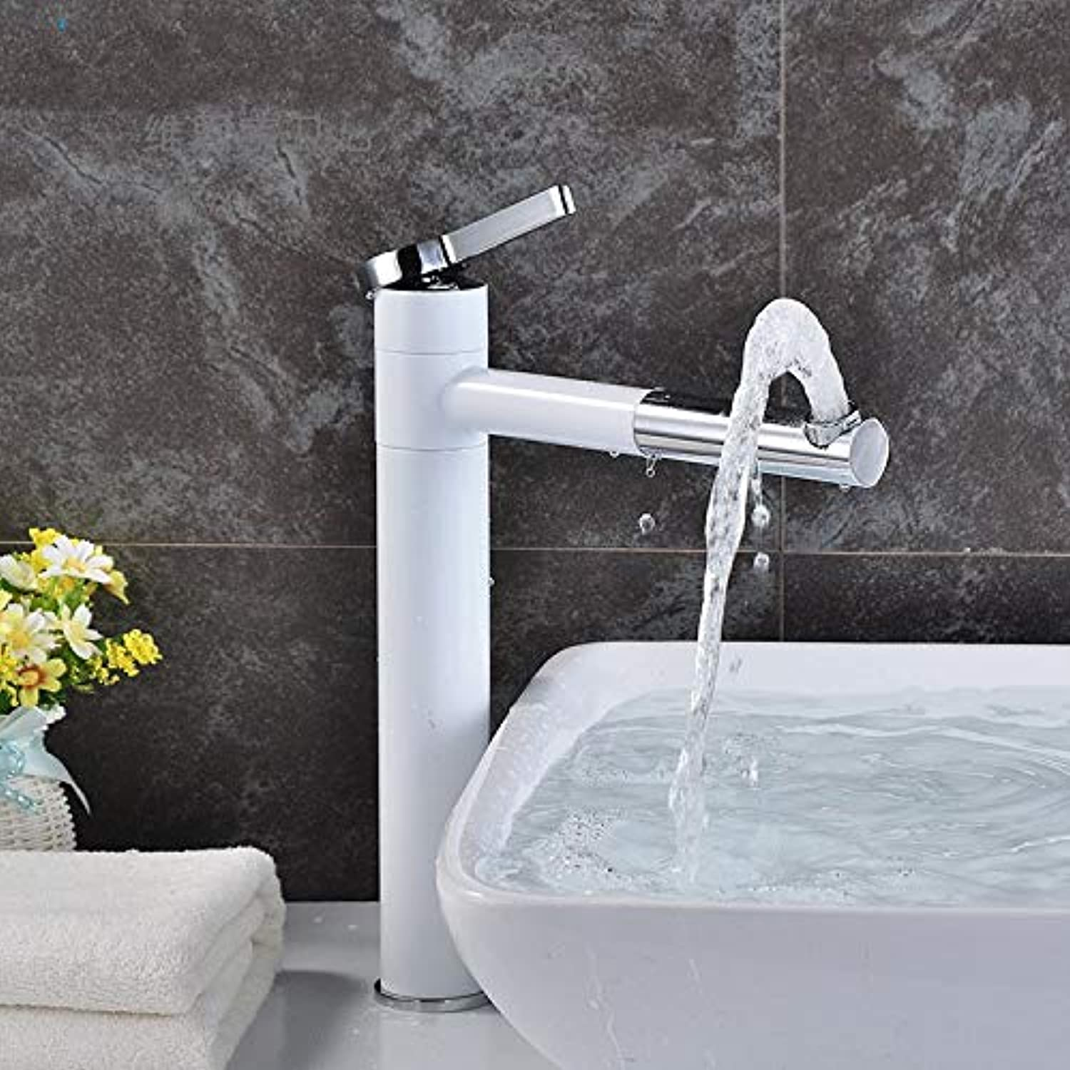 redOOY Taps Faucet Basin Faucet Bathroom Toilet Faucet Hot And Cold High Single Hole Basin Copper redating Bathroom Basin Faucet White