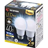 アイリスオーヤマ LED電球 口金直径26mm 広配光 40W形相当 昼光色 2個パック 密閉器具対応 LDA4D-G-4T62P
