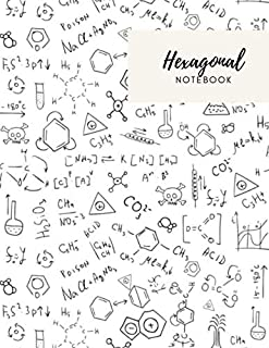 Hexagon Notebook: 110 pages Hexagonal Grid Graph Paper 8.5x11 in, Organic Chemistry Notes, Large Line Drawn Hexagon Shapes For Creative Crafts, Quilting, Design, Drawing - Chem pattern