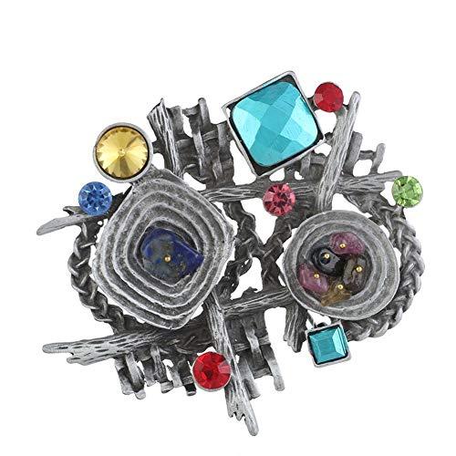 Preisvergleich Produktbild Vektenxi Vintage Unregelmäßige Geometrische Strass Frauen Brosche Kleidung Party Decor Antik Silber Langlebig und Nützlich