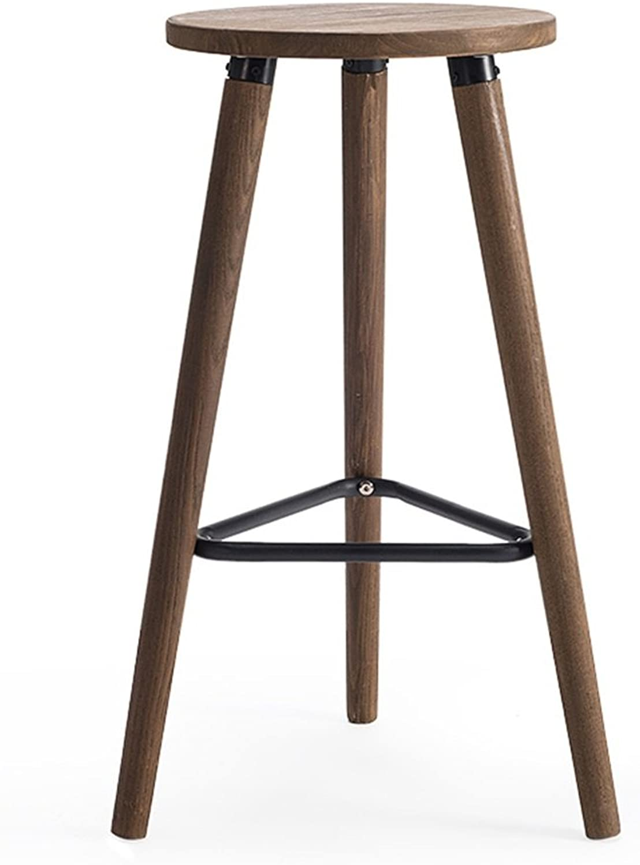 High Stool Bar Kitchen Breakfast Stool Dining Chair Retro Wood Seat Tall Chair Bar Stool Counter Chair