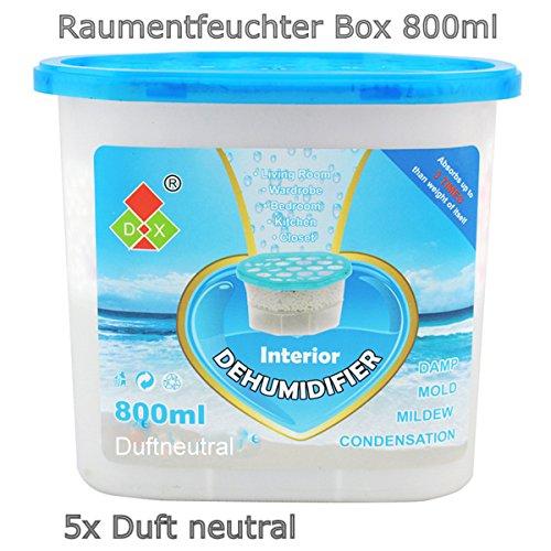 """5x 800ml Raumentfeuchter Box mit 350g Luftentfeuchter Granulat (Calciumchlorid), duftneutral - nachfüllbar (auf dem Etikett steht\""""Ocean fragrance\"""", der Inhalt ist aber ohne Duft!!!)"""