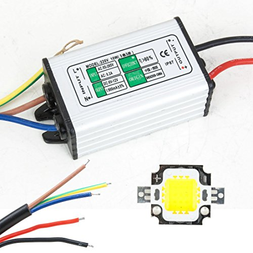 uxcell 10W LED Driver Waterproof IP67 Power Supply High Power Adapter 10W LED Chip Bulb Energy Saving For DIY Warm White
