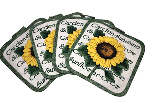 Set of Four Pot Holders for Kitchen Six Different Designs (Sunflower)