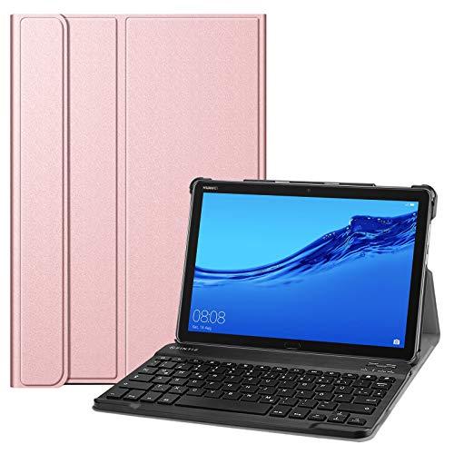 Fintie Tastatur Hülle für Huawei MediaPad M5 Lite 10.1 Zoll - Superdünn leicht Schutzhülle Keyboard Hülle mit magnetisch Abnehmbarer Bluetooth Tastatur mit QWERTZ Layout, Roségold
